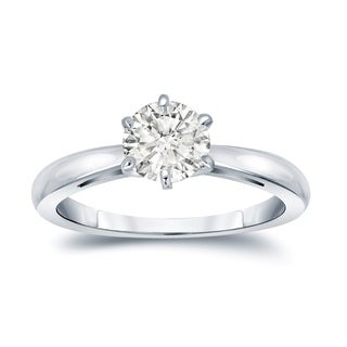 Auriya 14k Gold 1ct TDW Round-Cut Diamond 6-Prong Solitaire Engagement Ring (I-J, SI2-SI3)
