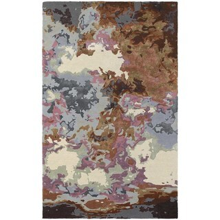 Fluidity Abstract Blue/ Brown Rug (5' x 8')