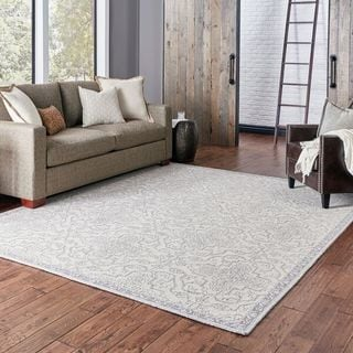 Floral and Vine Persian Inspired Loop Pile Stone/ Grey Rug (5' x 8')