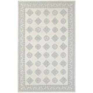 Persian Panel Traditional Loop Pile Grey/ Beige Rug (5' x 8')