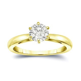 Auriya 14k Gold 3/4ct TDW Round-Cut Diamond 6-Prong Solitaire Engagement Ring (I-J, SI2-SI3)