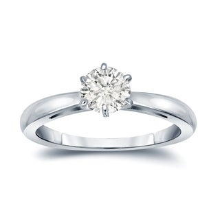 Auriya 14k Gold 1/3ct TDW Round-Cut Diamond 6-Prong Solitaire Engagement Ring (I-J, SI2-SI3)