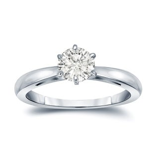 Auriya 14k Gold 1/2ct TDW Round-Cut Diamond 6-Prong Solitaire Engagement Ring (I-J, SI2-SI3)