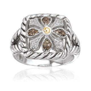 Avanti Sterling Silver and 18k Yellow Gold 1/10ct TDW Brown Diamond Cushion Shape Fashion Ring (Brown, SI2-I1)