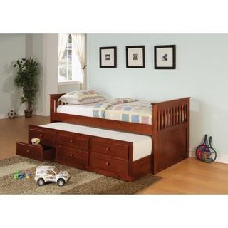 Brown 3-Drawer Trundle Daybed
