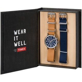 Timex Unisex TWG012800QM Weekender Chronograph Brown Leather Strap Watch Gift Set With Extra Navy Nylon Strap