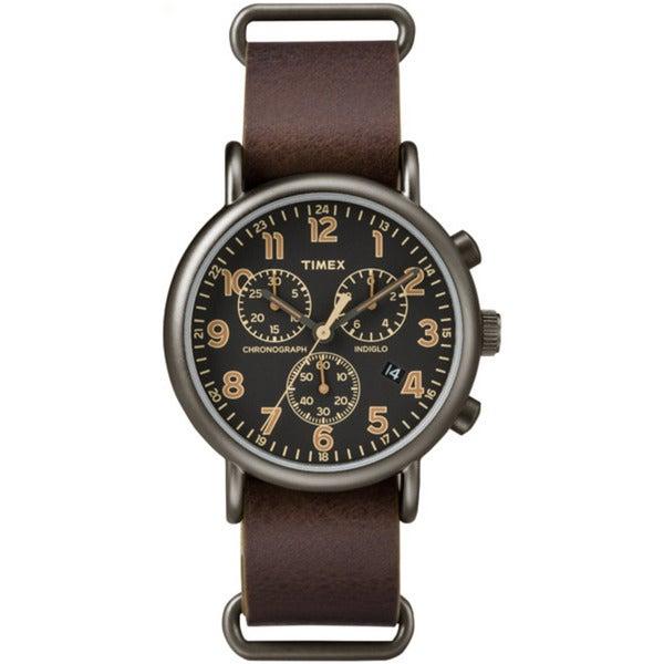 Timex Men's TW2P854009J Weekender Dark Brown Leather Slip-thru Strap Oversized Chronograph Watch