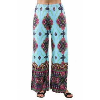 24/7 Comfort Apparel Women's Plus Size Abstract Sky Blue Palazzo Pants