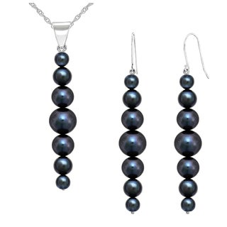 """DaVonna 14K White Gold 5-8.5mm Black Graduated Freshwater Cultured Pearl Pendant & Earrings Jewelry Set 18"""""""