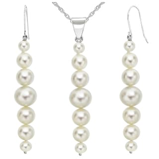 """DaVonna 14K White Gold 5-8.5mm White Graduated Freshwater Cultured Pearl Pendant & Earrings Jewelry Set 18"""""""