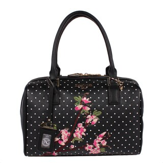 Nicole Lee Kayley Black Faux-leather Floral Embellishment Boston Handbag