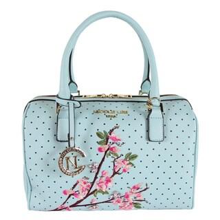Nicole Lee Kayley Blue Floral Embellishment Boston Handbag