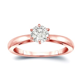 Auriya 14k Gold 1/4ct TDW Round-Cut Diamond 6-Prong Solitaire Engagement Ring (I-J, SI2-SI3)