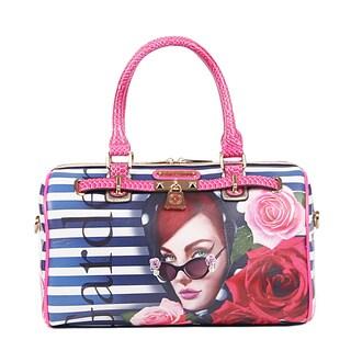 Nicole Lee Lady in Red Print Boston Handbag