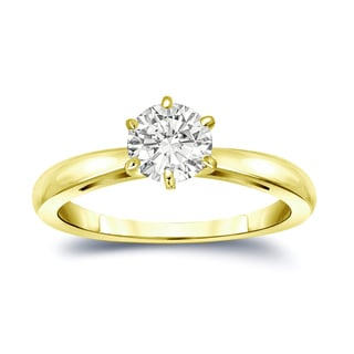 Auriya 14k Gold 3/4ct TDW Round-Cut Diamond 6-Prong Solitaire Engagement Ring (I-J, SI1-SI2)