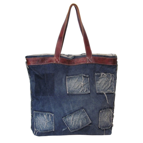 Amerileather Hollis Blue Ripped Denim/Leather Trim Tote Bag