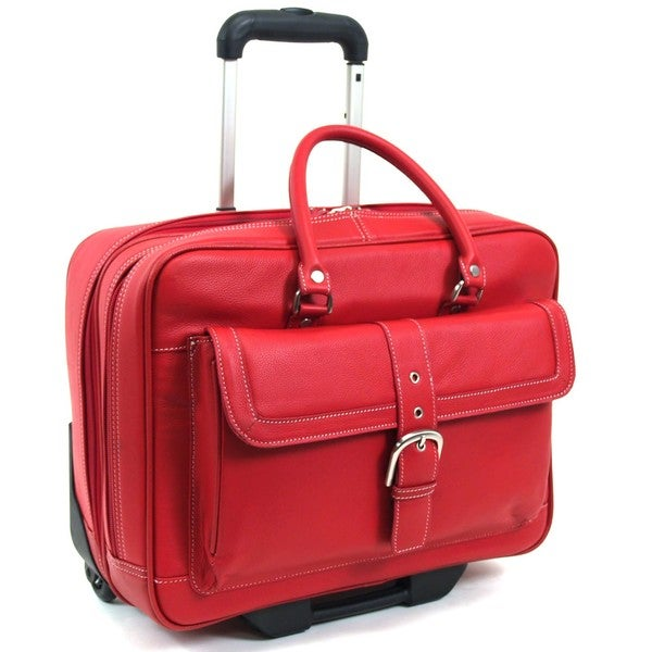 Heritage Soho Barn Red Leather 15.6-inch Double-compartment Top-zip Rolling Laptop Case