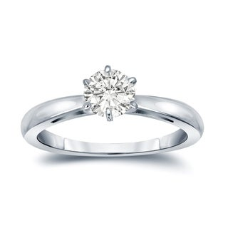 Auriya 14k Gold 1/3ct TDW Round-Cut Diamond 6-Prong Solitaire Engagement Ring (I-J, SI1-SI2)