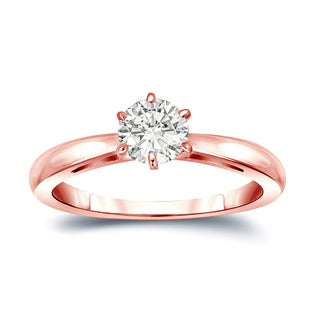 Auriya 14k Gold 1/4ct TDW Round-Cut Diamond 6-Prong Solitaire Engagement Ring (I-J, SI1-SI2)