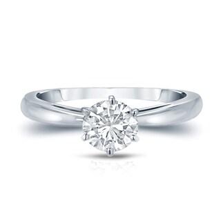 Auriya 14k Gold 3/4ct TDW Round-Cut Diamond 6-Prong Solitaire Engagement Ring (H-I, VS1-VS2)