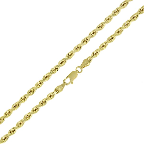 14k Yellow Gold Mens Womens 3.5mm Hollow Rope Diamond Cut Chain Necklace