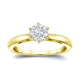 Auriya 14k Gold 1/2ct TDW Round-Cut Diamond 6-Prong Solitaire Engagement Ring (H-I, VS1-VS2)