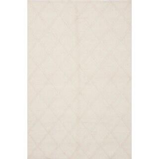 ecarpetgallery Diamond Bamboo Ivory Wool Rug (6'1 x 9'2)