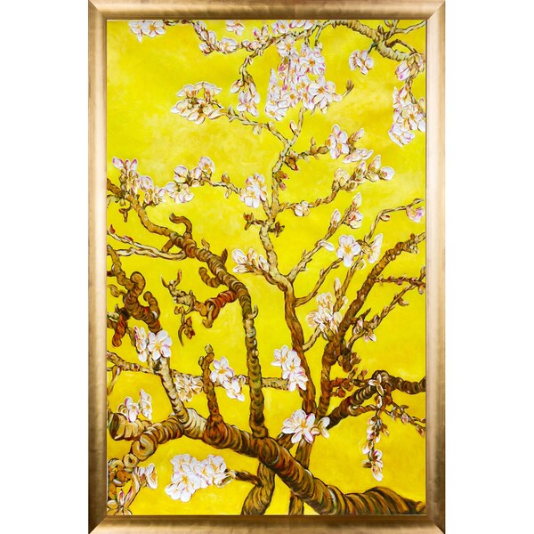 La Pastiche Original 'Branches of an Almond Tree in Blossom, Citrine Yellow' Hand Painted Framed Canvas Art 19911356