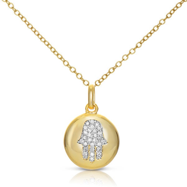 Collete Z Cubic Zirconia Sterling Silver Gold Plated Hamsa Symbol Disc Pendant