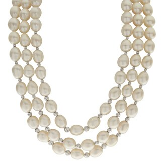 Pearls For You 16-inch Sterling Silver White Freshwater Pearl Triple-strand Necklace
