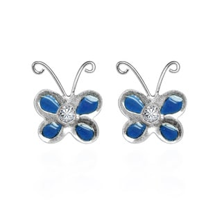 White Cubic Zirconia Blue Butterfly 925 Silver Earrings (Thailand)