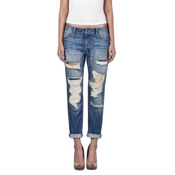 Hidden Ripped Slim Boyfriend Jeans