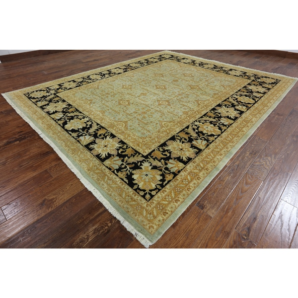 Oriental Peshawar Blue Handknotted Wool Rug (9' 1inch x 10' 10 inches)