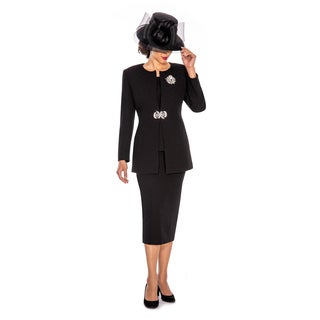 Giovanna Signature Women's White/Black Polyester Textured 3-piece Skirt Suit