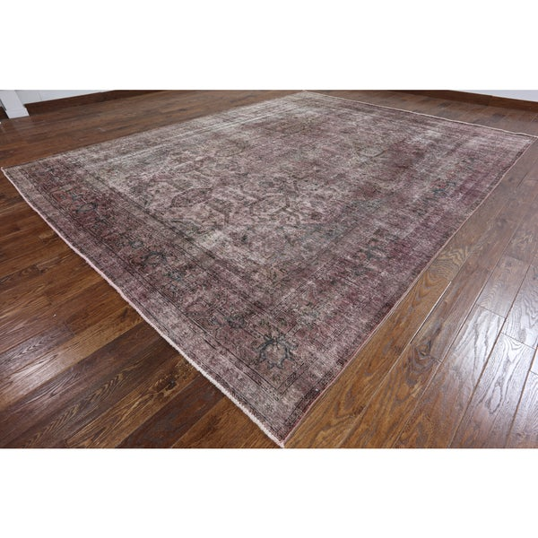 Oriental Overdyed Pink Wool Hand-Knotted Rug (9 feet 10 inches x 12 feet 7 inches)