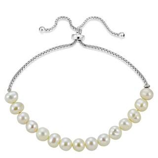 Glitzy Rocks Sterling Silver Freshwater Pearl Adjustable Bracelet (5 mm)