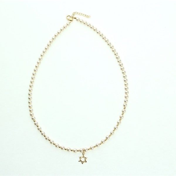 Cream Pearls and Gold Mini Beads with Star of David Charm Child Necklace