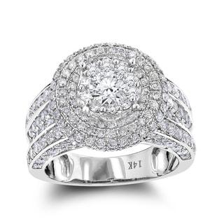 Luxurman Vintage Round Diamond Engagement Ring 3.5ct 14K Gold (F-G; VS1-VS2)