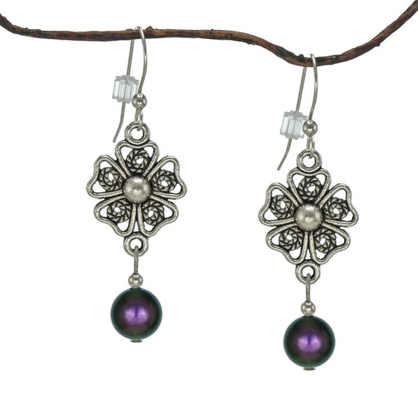 Jewelry by Dawn Iridescent Purple Crystal Pearl Pewter Flower Earrings