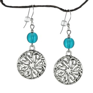 Jewelry by Dawn Turquoise Glass Pewter Medallion Earrings