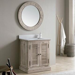 Rustic 31-inch Quartz Marble Top Single-sink Bathroom Vanity with Matching Wall Mirror