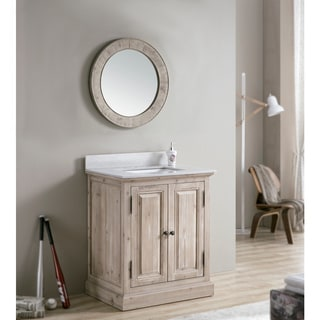 Rustic 31-inch Quartz Marble Top Single-sink Bathroom Vanity with Matching Round Mirror