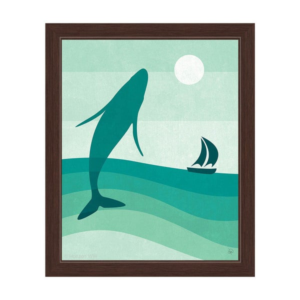 Breaching Whale Green Framed Canvas Wall Art