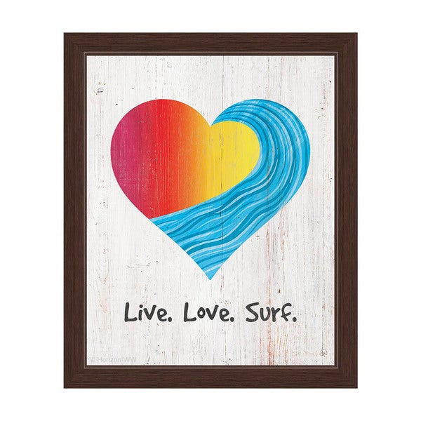 Live Love Surf Red To Yellow On Wood Framed Canvas Wall Art