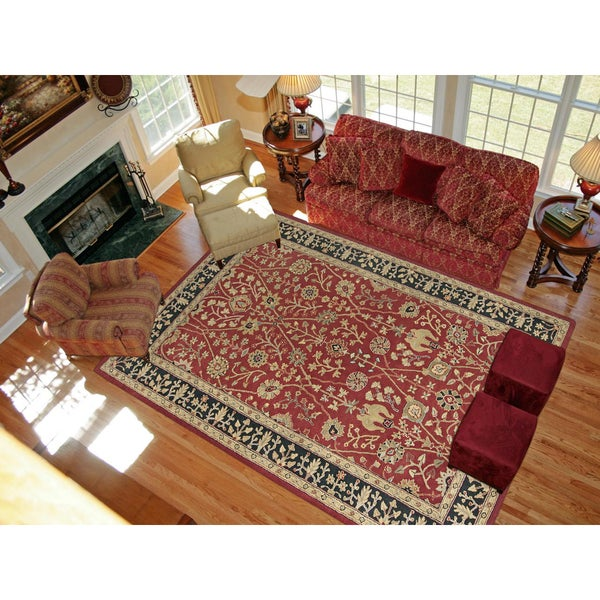 Magi Julia Red / Black Wool Hand-tufted Area Rug (3' 6 x5 '6)