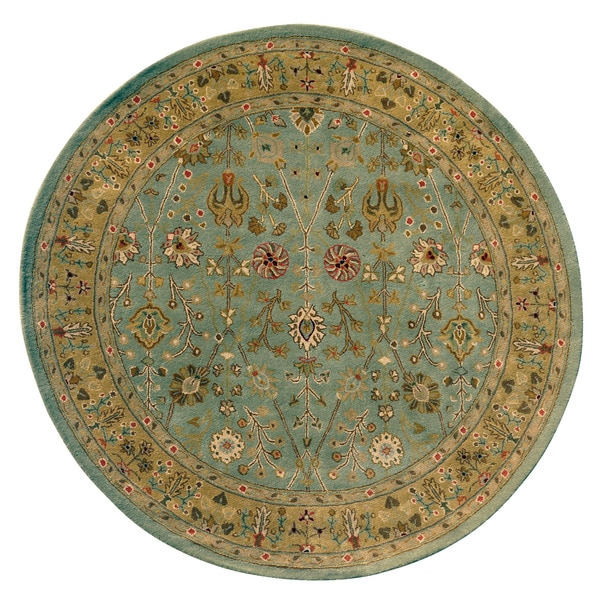 Julia Mint Green/Gold Wool Round Hand-tufted Area Rug (7 '9x 7 '9)