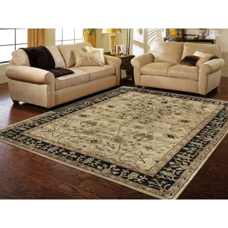 Julia Gold/Black Wool Hand-tufted Area Rug (7'6 x 9'6)