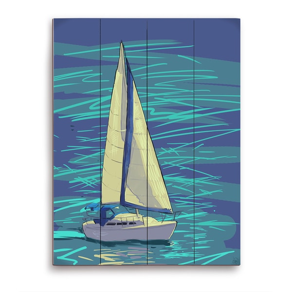 Sailing on Electric Blue Wooden Wall Art