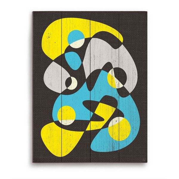 Scatter Brain Yellow And Blue Wooden Wall Art