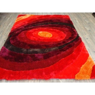 Living Shag Red/Brown/Burgundy/Orange Synthetic Hand-tufted Area Rug (7'6 x 10'3)